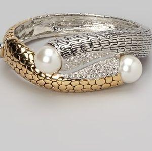 Bracelet, Pearl & textured metals